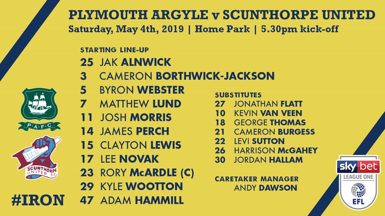 18d606bb411a Team news  Plymouth Argyle (A) - News - Scunthorpe United