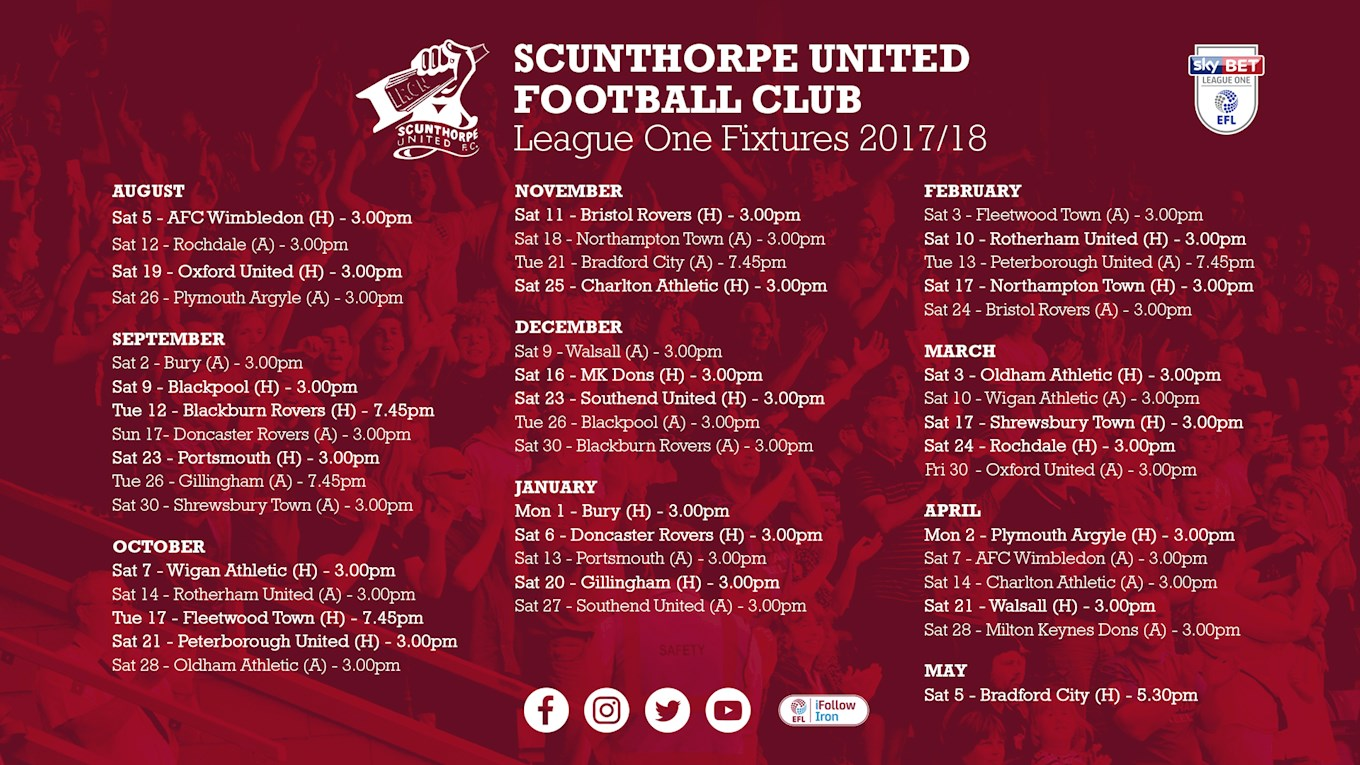 Fixture cards available now news scunthorpe united for Home zone wallpaper walsall